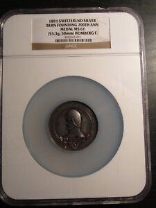 1891-Silver-Medal-700th-Anniversary-Bern-NGC-MS61-Rare
