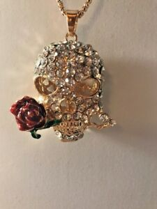 Details about Betsey Johnson Necklace SKULL RED ROSE Gold Crystals SUGAR  SKULL Gift Box