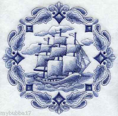 SHIP AT SEA BLUE WORK Rare SET OF 2 HAND TOWELS EMBROIDERED NEW UNIQUE BY LAURA