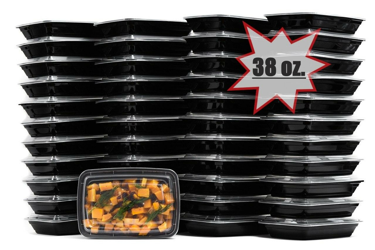 38 Oz. Meal Prep Microwavable Food Containers with Lids Reusable BPA Free 100Set
