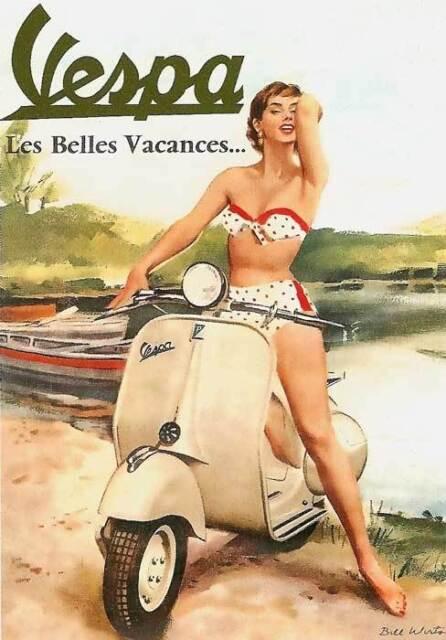 RETRO PINUP VESPA GIRL-  QUALITY CANVAS PRINT Poster bikini scooter