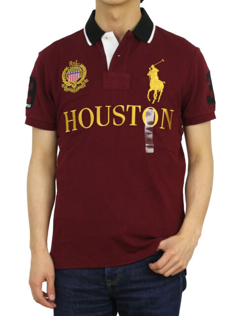 Ralph Lauren Men's Houston Polo Shirt Number 3 Custom Slim Fit Maroon Size S