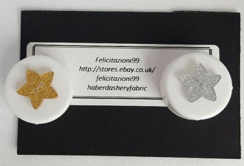 Glitter Estrella brillantes botones 2 agujero de 18mm en 2 Colores//Novedad