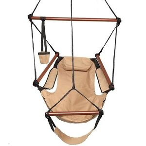 Hammock-Hanging-Chair-Air-Deluxe-Sky-Swing-Outdoor-Chair-Solid-Wood-250lb-Brown