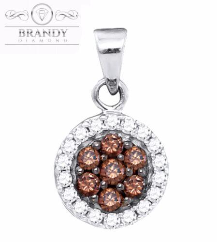 Brandy Diamond® Chocolate Brown 10K White Gold Halo Necklace Pendant .44 Ct