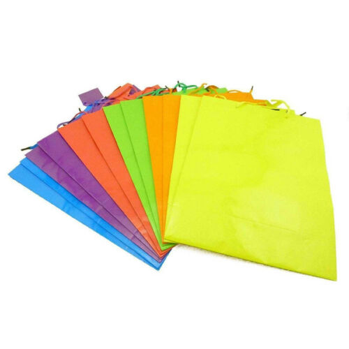 """Large Assorted Neon Birthday Shower Classrom Wedding Gift Bags 10/"""" x 12/"""" x 4.5/"""""""