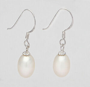 Brand-New-925-Sterling-Silver-9mm-Freshwater-Pearl-Drop-Earrings-White