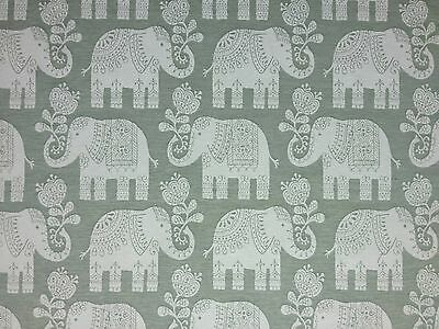 MARSON AMY ELEPHANT SAGE WOVEN TAPESTRY REVERSIBLE CURTAIN UPHOLSTERY FABRIC