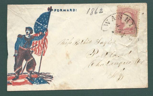 CIVIL WAR COVER, WASHINGTON, D.C. Zouve Soldier standing on Rebel Flag. Scarce