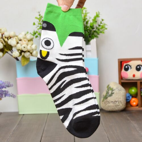 Cartoon Animal Cow Zebra Crocodile Tiger Mole Pattern Women Child Cotton Socks