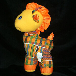 Playskool Giraffe Kente Pets Orange Yellow Plaid Plush Rattle Kids Of Color 1993