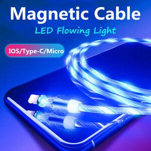 LED-luz-que-fluye-magnetico-tipo-C-Micro-USB-Cargador-Cable-De-Carga-Para-Samsung