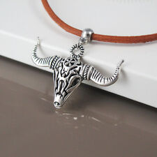 Silver Alloy Bull Head Longhorns Skull Western Pendant Brown Leather Necklace