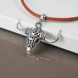 Silver Western Cowboy Longhorns Bull Skull Pendant Brown Leather Choker Necklace