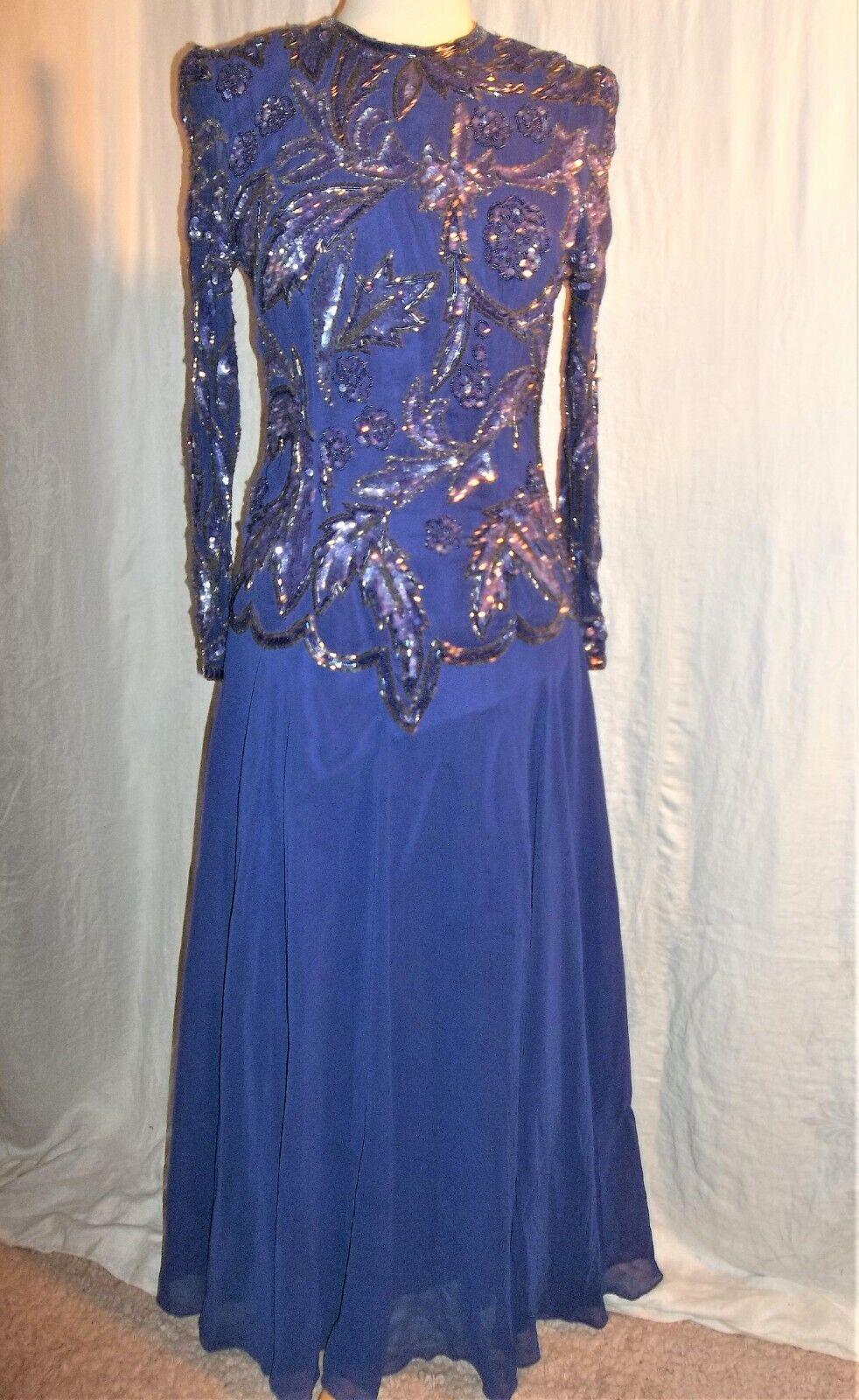NWT Hannah Lynn Long Beaded Sequin Formal Evening Gown Size S