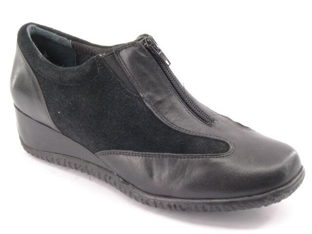New SUDINI Women Waterproof Black Leather Flat Wedge Heel Zip Up Shoe Sz 8.5 M