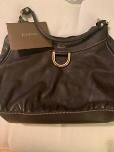 Authentic-VGUC-Large-Brown-Leather-Gucci-D-Ring-Hobo-Bag-Purse-Handbag-Satchel