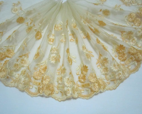 """6.5""""*1yard Embroidery Flower Tulle Lace Trim Sewing/Craft ~Yellow"""