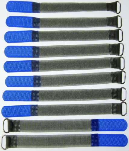 10 Kabelbinder Klettverschluss 16 cm x 16 mm blau FK Klettband Klettkabelbinder