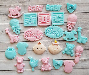 24 Pink Blue Baby Edible Cupcake Toppers Christening Twins Baby