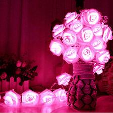 20 LED Rose Flower Fairy String Lights Wedding Christmas Party Garden Decoration