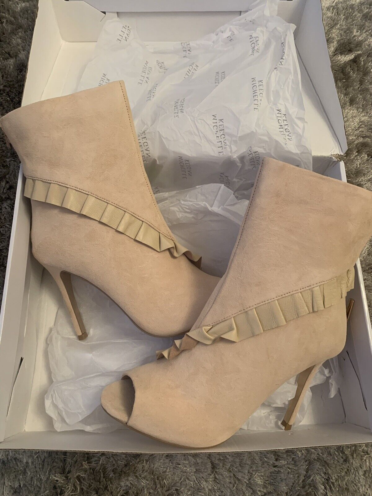 Michelle Keegan Pink bluesh Leather And Suede High Heeled Boots. Size 7 BNIB