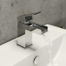 Modern Waterfall Bathroom Mono Basin Sink Mixer Tap Square Brass Single Lever