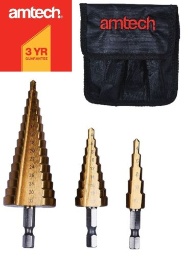 3P Large Hss Step Cone Titane Drill Bit Set Hole Cutter Pochette 4-32 mm 5-15 étape