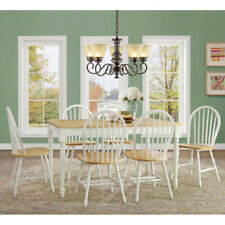 7 Piece Dining Set Table And 6 Chairs Country Farmhouse White Oak Solid Wood