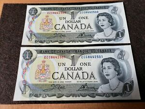 2 1973 Canadian 1$ banknotes Consecutive numbers ECG8442500/501 UNCIRCULATED