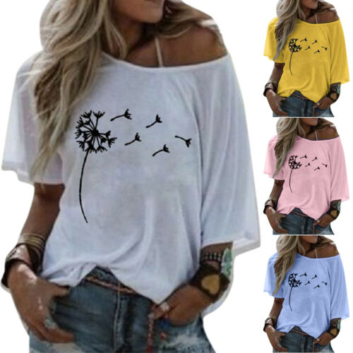 Womens Ladies One Shoulder Floral Printed T-Shirt Tops Summer Loose Basic Blouse