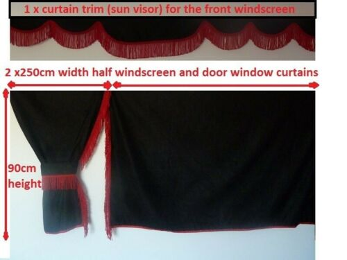 TRUCK SIDE CURTAINS  BLACK//RED FIT  DAF SCANIA VOLVO MAN MERCEDES IVECO RENAULT