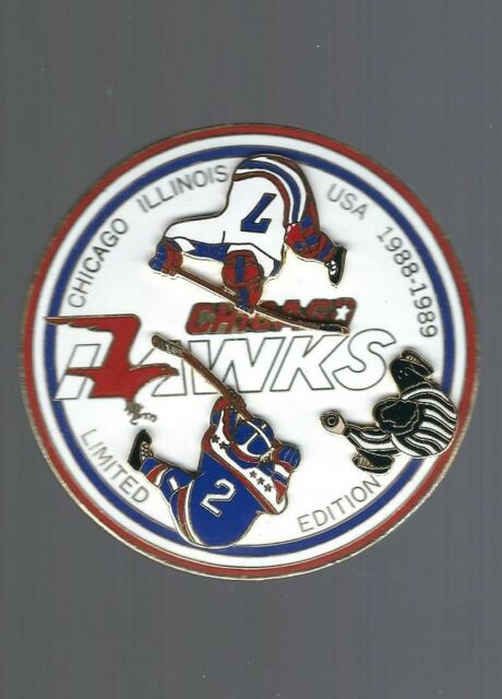 1988-89 Chicago Hawks, Illinois USA logo, Quebec Minor Hockey pin