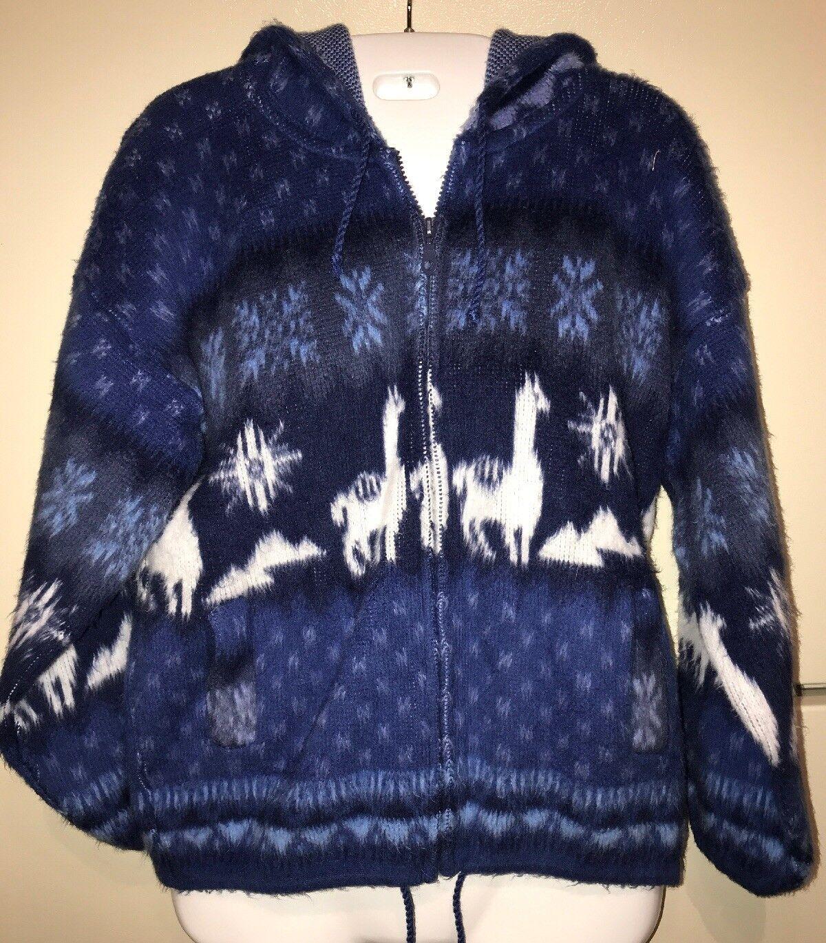 TEJIDOS ALY MARKA 100% Wool Full Zip Hoodie Alpacas NWOT unworn bluee White Small