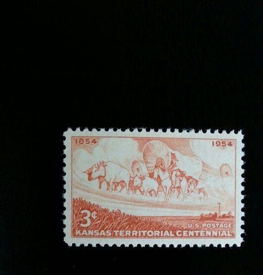 1954 3c Kansas Territorial Centennial, Wagon & Horse Sc