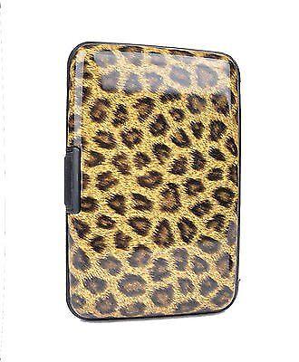 Brown Leopard Card Case Holder ID Card Holder Secure Aluminum Wallet CASE019