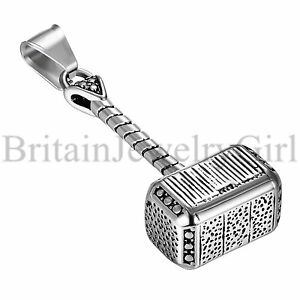 22-034-Charm-Stainless-Steel-Vintage-Thor-039-s-Hammer-Pendant-Necklace-Men-039-s-Jewelry