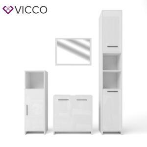 vicco badm bel set kiko wei hochglanz badezimmer badspiegel hochschrank ebay. Black Bedroom Furniture Sets. Home Design Ideas