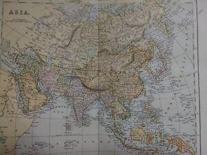 c-1899-Antique-Map-of-Asia-Turkey-Arabia-Syria-China-Japan-India-Borneo