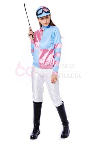 Ladies Jockey Costume Horse Rider Racing Uniform Womens Sports Fancy Dress