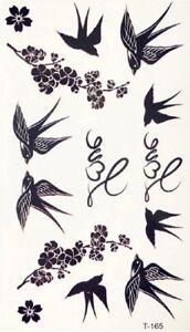 Einmal-Tattoos-Temporary-Tattoo-Schwarz-Farbe-Body-Sticker-Tattoo-Schwalbe-TOP