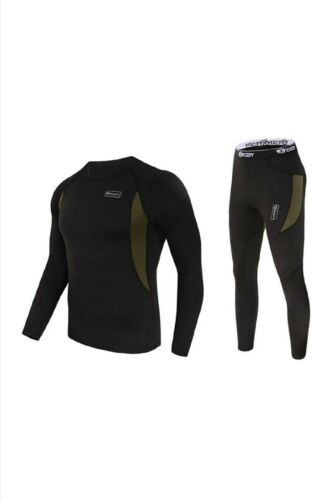 ESDY Thermal Underwear Set For Men Long Johns Top Bottom Stretchy Fleece Size M