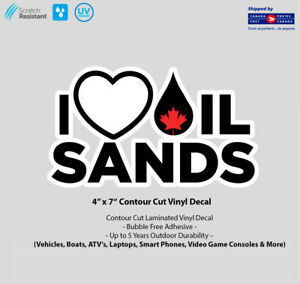 """4/"""" x 7/"""" I Love Canadian Oil Sands Laminated Vinyl Decal"""