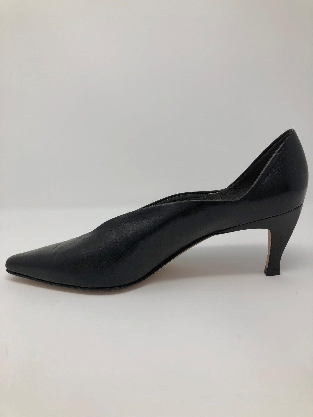 Via Spiga Zapatos De 10 Mujer Talla 10 De M Negro Cuero Puntera en Punta Bombas Tacones 007349