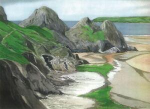 The Three Cliffs, Gower, Swansea - Greetings Card - Tony Paultyn