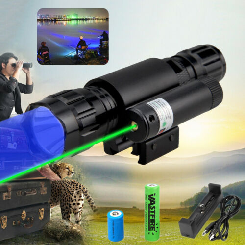 Tactical Blue Light Q5 LED Hunting Flashlight Torch Lamp /& Green Laser Dot Sight