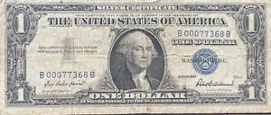 USA-1-Dollar-1957-Silver-Certificate-Banknote-LOW-SERIAL-NUMBER-Schein-22011