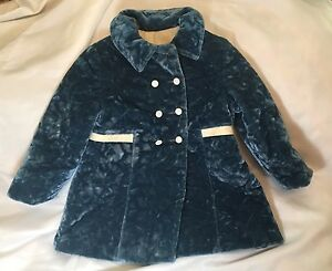 True Vintage 1970s Blue Crushed Velvet Coat Girls Teal Blue Velvet Peat Coat 4t