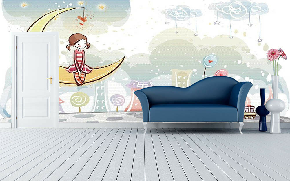 Moon Girl Moon Rabbit 3D Full Wall Mural Photo Wallpaper Print Home Kids Decor