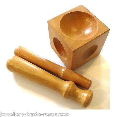 JEWELLERS WOODEN DOMING PUNCH + BLOCK DAPPING TOOL SET